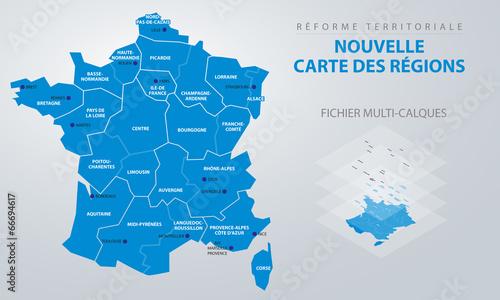 Fotografie, Tablou  Réforme territoriale - Nouvelle carte des régions