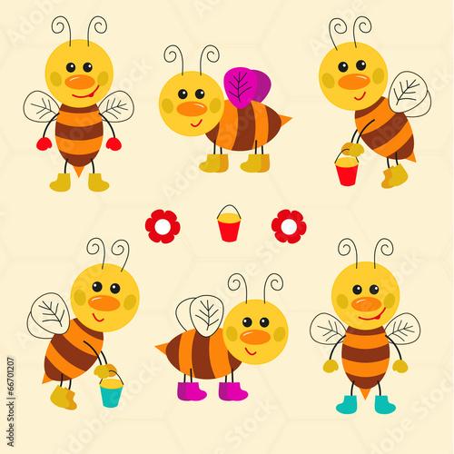 Assortment of funny cartoon vector bees #66701207