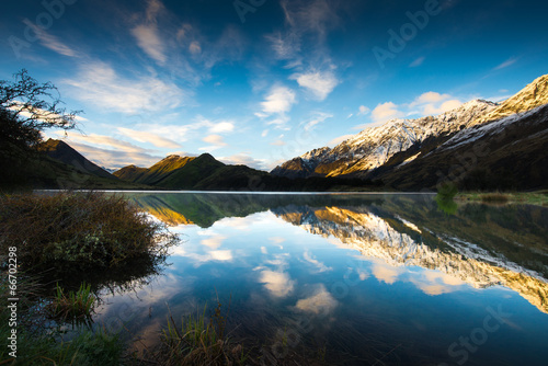 Fotografie, Tablou  Sunrise and Reflection View of Moke Lake near Queenstown New Zea