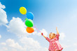 canvas print picture Cute girl with many balloons on sky background