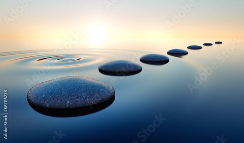 Garden Poster Zen Steine im Wasser