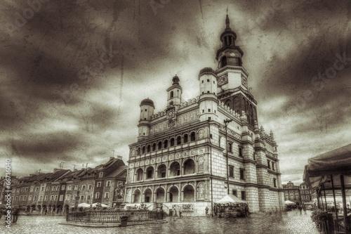 Obraz na dibondzie (fotoboard) Stary rynek w Poznaniu styl retro