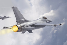 F-16 Fighting Falcon Jets (models) Fly Through Clouds