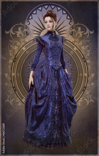 Purple Belle Epoque Gown, 3d CG Poster