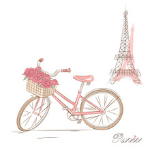Bicycle With A Basket Of Flowe...