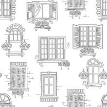 Seamless Pattern Of Retro Windows On White Background.