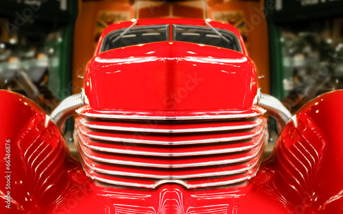 abstract of a vintage red muscle car