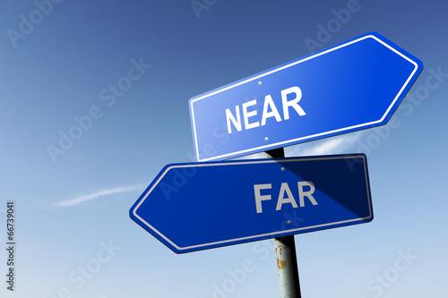 Photo  Near and Far directions.  Opposite traffic sign.