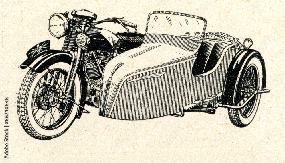 Fototapeta Motorcycle with a sidecar ca. 1930