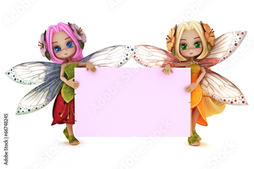 Valokuva  Two cute Fairy's holding a blank pink advertisement card