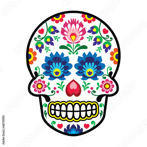 Obraz Mexican sugar skull - Polish folk art style - Wzory Lowickie - fototapety do salonu