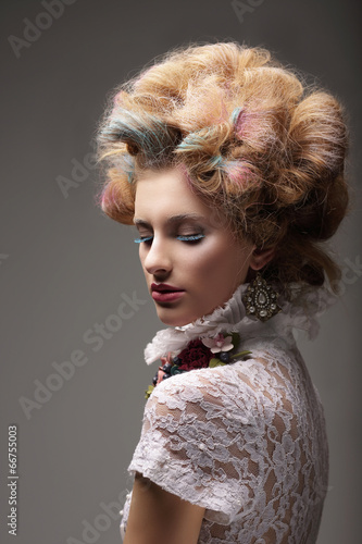 Fotografie, Obraz  Individuality. Haute Couture. Swanky Woman with Colored Hair