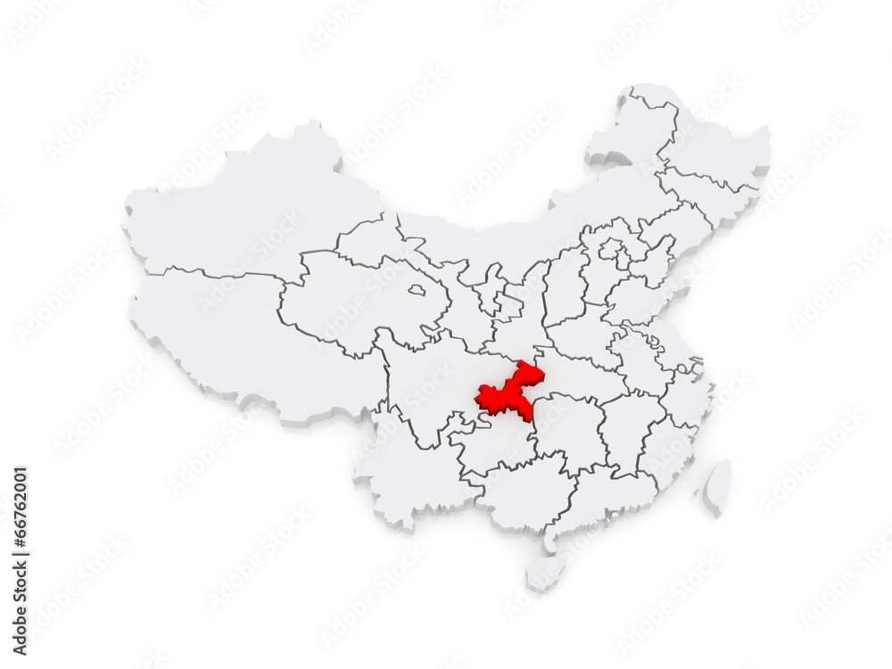 Map of Chongqing. China. Foto, Poster, Wandbilder bei EuroPosters Chongqing China Map on
