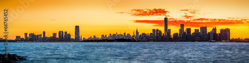 Panorama with Jersey City and New York at sunrise #66765452