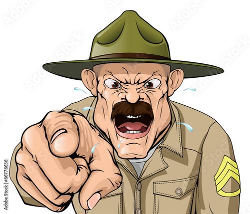 Fotografie, Obraz  Boot Camp Drill Sergeant