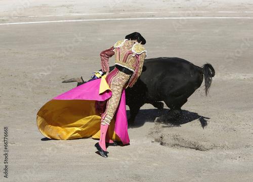 Foto op Aluminium Stierenvechten Bullfighter and bull