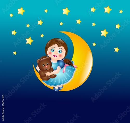 Foto op Plexiglas Hemel Cute girl on moon