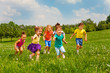 canvas print picture Playing kids in green field during summer