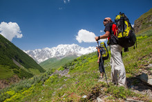 Hikers In Caucasus Mountains O...