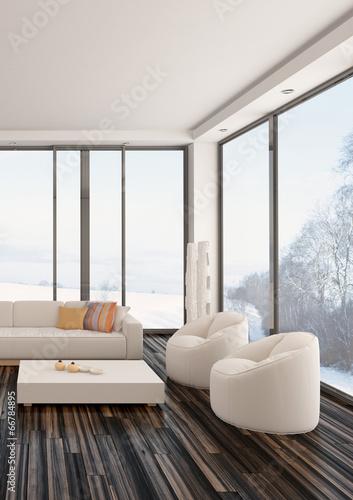 Luftiges Helles Wohnzimmer Mit Parkettboden Und Weißer Couch