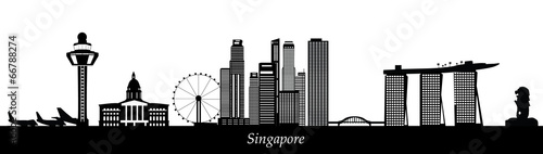 Canvas Print singapore skyline