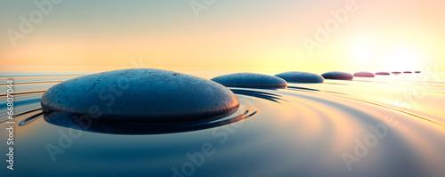 Doppelrollo mit Motiv - Steine im Wasser 3