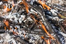 Scattered Broken Smoldering Bonfire Horizontal View