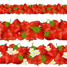 Seamless Border Of Strawberry