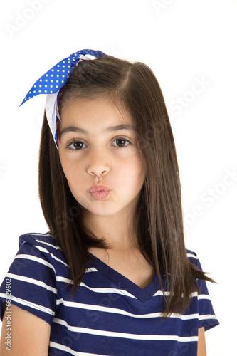 Juliste  cute brunette caucasian girl kissing portrait close up