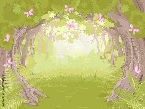 Poster Magie Glade in Magic forest