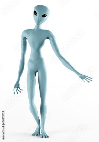 Fotografía  Alien Humanoid Full-length Standing Pose. Isolated on White