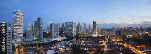 Tuinposter Singapore Kampong Glam in Singapore Aerial View at Blue Hour Panorama