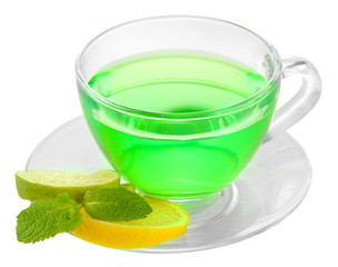 Panel Szklany Do herbaciarni Transparent cup of green tea isolated on white