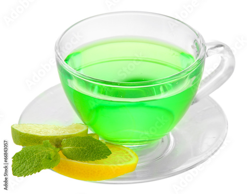 Transparent cup of green tea isolated on white - 66843057