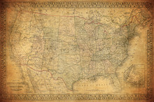 Vintage Map Of United States 1...