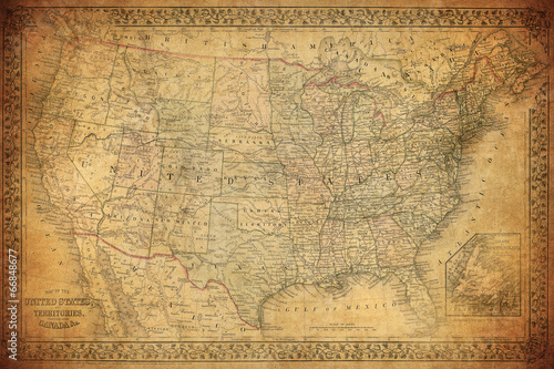 Fotografie, Obraz  Vintage map of United States 1867