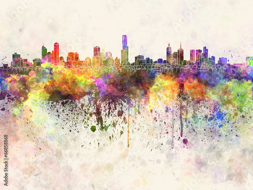 Melbourne skyline in watercolor background
