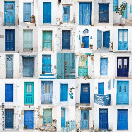 Collage griechischer Holz Türen: blau, türkis, grün Canvas Print