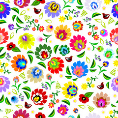 Traditional Polish repetitive folk floral pattern vector