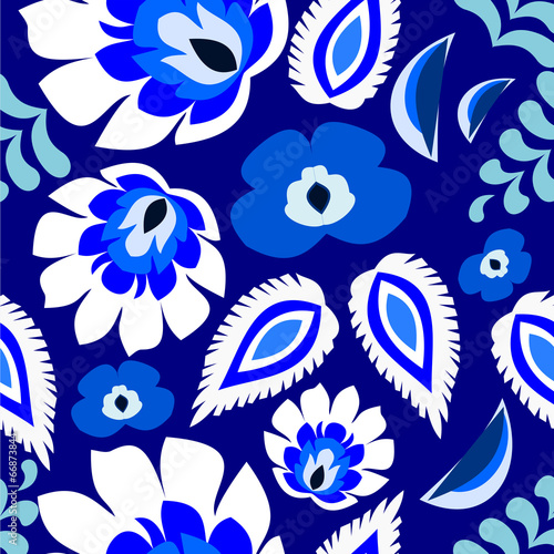 Blue floral folk Polish, Russian, repetitive pattern vector