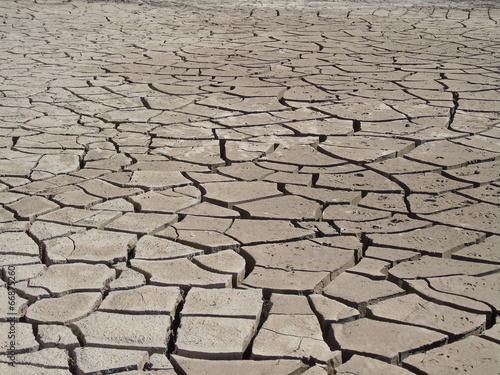 Fotografie, Obraz  kuraklıktan dolayı toprakta oluşan çatlaklar