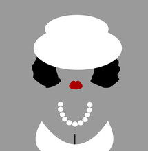 Woman Dressed Up For Celebration Wearing Hat And Pearls