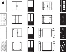 Door And Window Silhouettes Illustrated On White