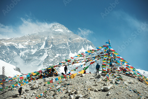 Montage in der Fensternische Nepal Spectacular mountain scenery on the Mount Everest Base Camp