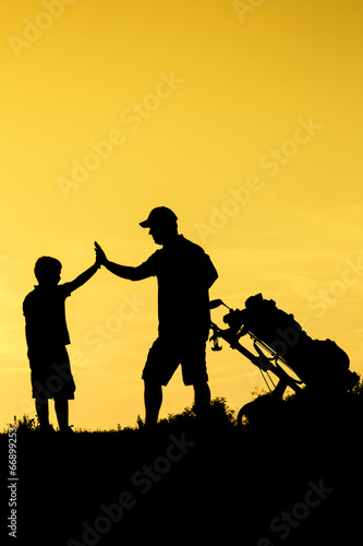 Poster Militaire Golf sunset silhouette