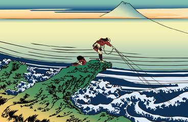 Panel Szklany Do sushi baru 葛飾北斎 富嶽三十六景 甲州石班澤のイラスト