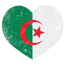 Algeria Retro Heart Shaped Flag