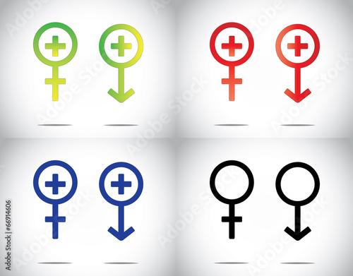 Male Female Man Woman Medical Health Plus Symbol Collection Set