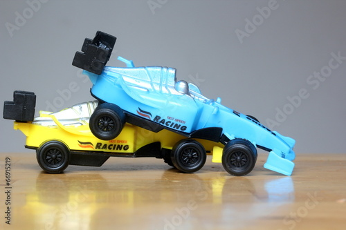 formula one f1 accident illustration colorful miniature cars