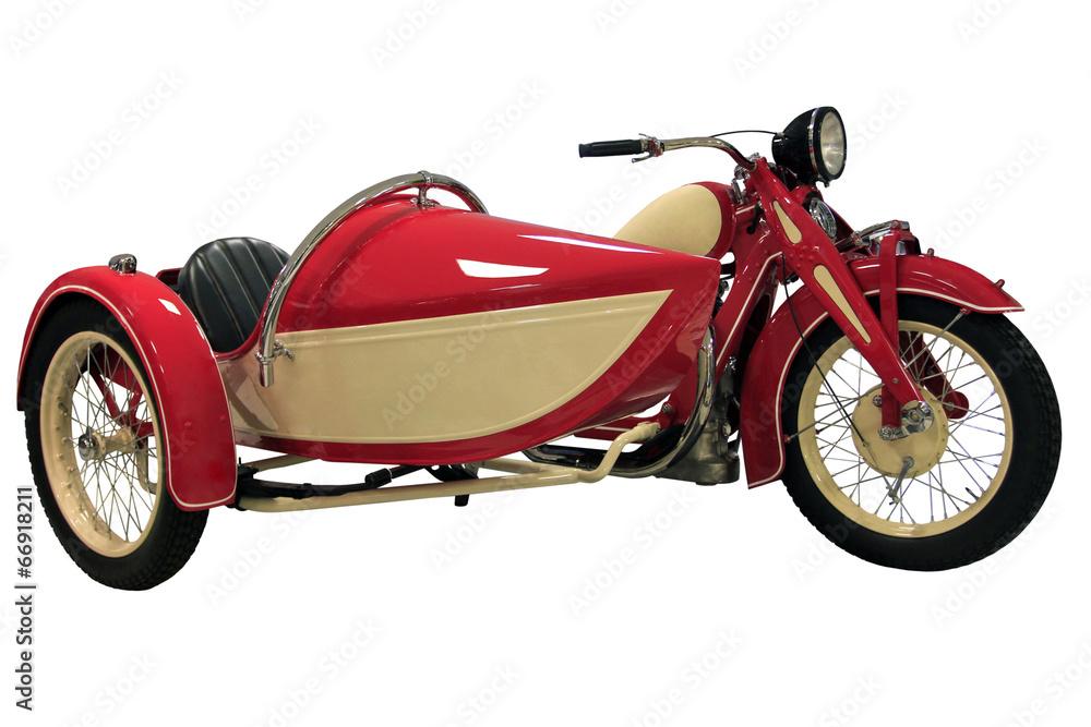 Fototapeta red vintage motorcycle with sidecar